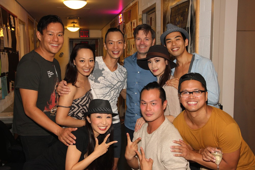 The King and I cast members and friends backstage at the Vivian Beaumont Theater after The Actors Fund Special Performance of The King and I on September 20, 2015. Photo by Lia Chang