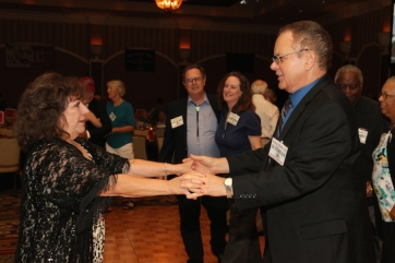 Becki Lewis and LVHS Class of 1960 alumnus Riki Kline dance the night away at the 2015 37th Anniversary - Annual Wildcat Reunion at The Orleans Hotel and Casino in Las Vegas, NV on September 26, 2015. Photo by Lia Chang