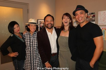 Erin Quill, MaryAnn Hu, Orville Mendoza, Julia Murney and Jose Llana backstage at the Vivian Beaumont Theater after The Actors Fund Special Performance of The King and I on September 20, 2015. Photo by Lia Chang