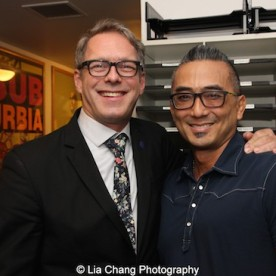 Greg Schanuel and Paul Nakauchi backstage at the Vivian Beaumont Theater after The Actors Fund Special Performance of The King and I on September 20, 2015. Photo by Lia Chang