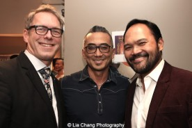 Greg Schanuel, Paul Nakauchi and Orville Mendoza backstage at the Vivian Beaumont Theater after The Actors Fund Special Performance of The King and I on September 20, 2015. Photo by Lia Chang