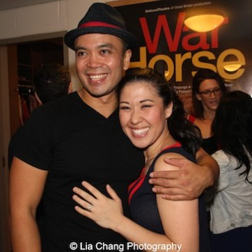 Jose Llana and Ruthie Ann Miles backstage at the Vivian Beaumont Theater after The Actors Fund Special Performance of The King and I on September 20, 2015. Photo by Lia Chang