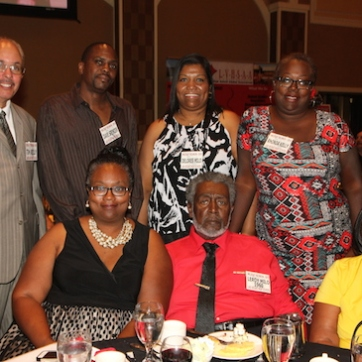 LVHS Class of 1960 alumnus Leroy Milo (seated in red) and his family attend the 2015 37th Anniversary - Annual Wildcat Reunion at The Orleans Hotel and Casino in Las Vegas, NV on September 26, 2015. Photo by Lia Chang