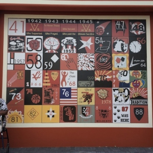 Las Vegas High School Senior Squares Memorial Project features original squares now replicated on a tile monument. This is a tribute to Wildcat senior classes of the past. 1941-1988. Photo by Lia Chang
