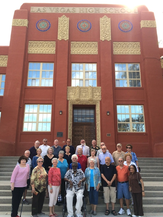 The LVHS Class of 1960 gathered on the steps of their alma mater for an annual photo op on September 26, 2015. Photo by Lia Chang