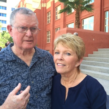 LVHS Class of 1960 alumni Rob Goddfellow and Rowena Mitchell Thiess at Las Vegas High School in Las Vegas, NV on September 26, 2015. Photo by Lia Chang