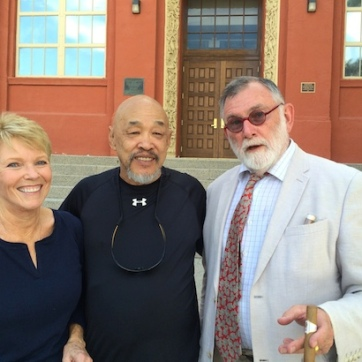 LVHS Class of 1960 alumni Rowena Mitchell Thiess, Russ Chang and Joe Kimmel at Las Vegas High School in Las Vegas, NV on September 26, 2015. Photo by Lia Chang
