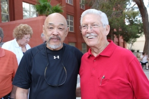 Russ Chang and Cecil Wynn at Las Vegas High School in Las Vegas, NV on September 26, 2015. Photo by Lia Chang