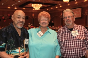 LVHS Class of 1960 alumni Russ Chang and Dale Reese with his wife Fran Reese, attend the 2015 37th Anniversary - Annual Wildcat Reunion at The Orleans Hotel and Casino in Las Vegas, NV on September 26, 2015. Photo by Lia Chang
