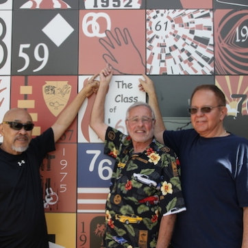 LVHS Class of 1960 alumni Russ Chang, Mike Kessler and Riki Kline at Las Vegas High School in Las Vegas, NV on September 26, 2015. Photo by Lia Chang