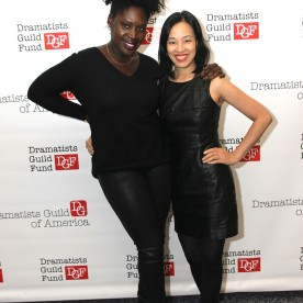 Lia Chang and 2014-2015 DG Fellow Camille Darby attend the 2014-2015 DG Fellows Presentation at Playwrights Horizons in New York on October 19, 2015. Photo by GK