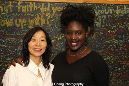 Diana Son and Camille Darby attend the 2014-2015 DG Fellows Presentation at Playwrights Horizons in New York on October 19, 2015. Photo by Lia Chang