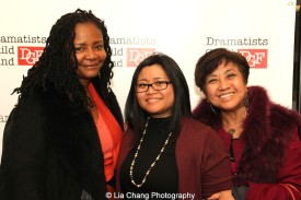 Tonya Pinkins, 2014-2015 DG Fellow Kristine M. Reyes and her mom Thelma M. Reyes at the 2014-2015 DG Fellows Presentation at Playwrights Horizons in New York on October 19, 2015. Photo by Lia Chang