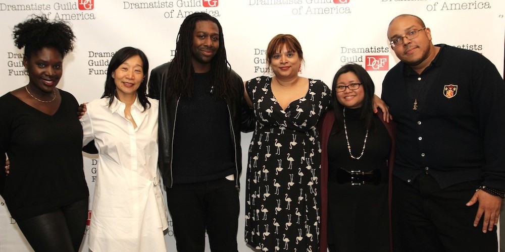 Camille Darby, Diana Son, James A. Tyler, Naveen Bahar Choudhury Kristine M. Reyes and Aurin Squire at the 2014-2015 DG Fellows Presentation at Playwrights Horizons in New York on October 19, 2015. Photo by Lia Chang