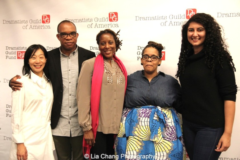 Dramatists Guild Fellows Chair Diana Son with 2015-2016 DG Fellows Jonathan Payne, France-Luce Benson, Stacey Rose and Sylvia Khoury at the 2014-2015 DG Fellows Presentation at Playwrights Horizons in New York on October 19, 2015. Photo by Lia Chang