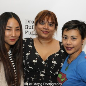 Greta Lee, 2014-2015 DG Fellow Naveen Bahar Choudhury and Angel Desai attend the 2014-2015 DG Fellows Presentation at Playwrights Horizons in New York on October 19, 2015. Photo by Lia Chang