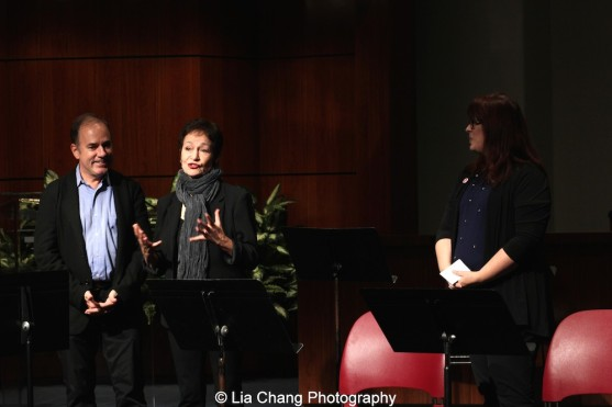 DG Fellows Program Founding Chairs Stephen Flaherty & Lynn Ahrens speak at the 2014-2015 DG Fellows Presentation at Playwrights Horizons in New York on October 19, 2015. Photo by Lia Chang