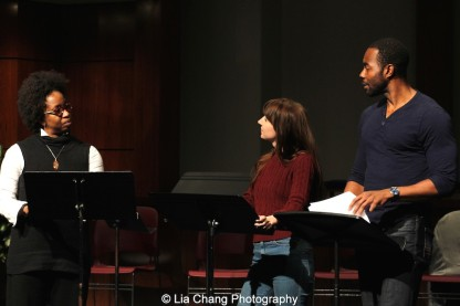 Sandra A. Daley-Sharif, Jenny Zerke and Clifton Duncan perform at the 2014-2015 DG Fellows Presentation at Playwrights Horizons in New York on October 19, 2015. Photo by Lia Chang