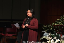 2014-2015 DG Fellow Kristine M. Reyes speaks at the 2014-2015 DG Fellows Presentation at Playwrights Horizons in New York on October 19, 2015. Photo by Lia Chang