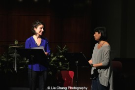 Katie Consamus and Siho Ellsmore perform at the 2014-2015 DG Fellows Presentation at Playwrights Horizons in New York on October 19, 2015. Photo by Lia Chang