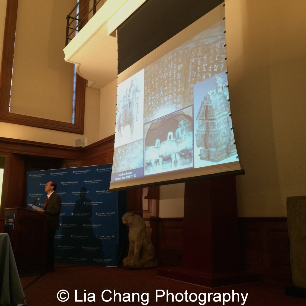 "Li Feng, Professor of Early Chinese History and Archaeology at Columbia University, gives a lecture on ""The Importance of Early China and the Indispensable Role of Western Institutions in Its Studies"" at the inaugural reception for The Tang Center for Early China in the Low Library at Columbia University on October 2, 2015. Photo by Lia Chang"