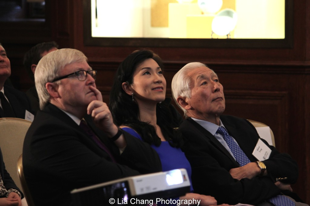 "The Honorable Kevin Rudd, former Prime Minister of Australia and President of Asia Society Policy Institute, Dr. Agnes Hsu Tang and her husband Oscar L. Tang listen to Li Feng, Professor of Early Chinese History and Archaeology at Columbia University, give a lecture on ""The Importance of Early China and the Indispensable Role of Western Institutions in Its Studies"" at the inaugural reception for The Tang Center for Early China in the Low Library at Columbia University on October 2, 2015. Photo by Lia Chang"