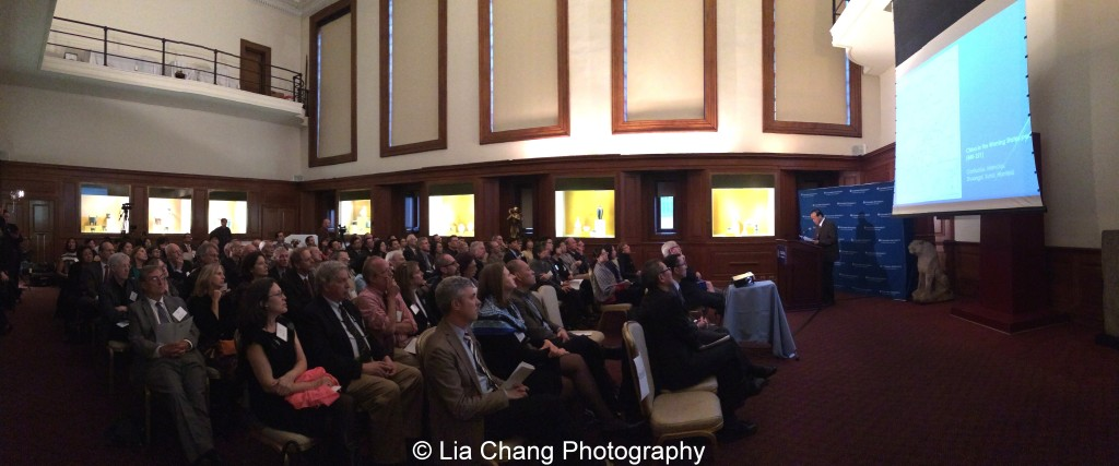 """Li Feng, Professor of Early Chinese History and Archaeology at Columbia University, gives a lecture on """"The Importance of Early China and the Indispensable Role of Western Institutions in Its Studies"""" at the inaugural reception for The Tang Center for Early China in the Low Library at Columbia University on October 2, 2015. Photo by Lia Chang"""
