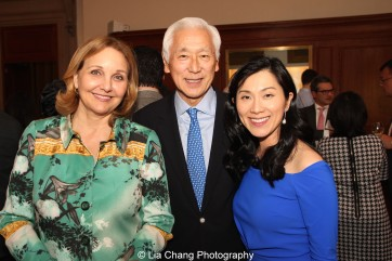 Josette Sheeran, President and CEO of Asia Society, Oscar L. Tang and his wife Dr. Agnes Hsu-Tang attend the inaugural reception for The Tang Center for Early China in the Low Library at Columbia University on October 2, 2015. Photo by Lia Chang