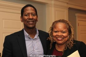 "Screening of ""The Killing Fields of Dr. Haing S. Ngor,"" International House, October 22, 2015, New York. (L-R) Sharon A. La Cruise, Director of Programs and Resident Life of International House, and Calvin Sims, President and CEO of International House. Photo by Lia Chang"