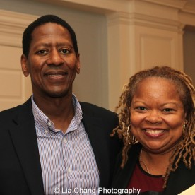 """Screening of """"The Killing Fields of Dr. Haing S. Ngor,"""" International House, October 22, 2015, New York. (L-R) Sharon A. La Cruise, Director of Programs and Resident Life of International House, and Calvin Sims, President and CEO of International House. Photo by Lia Chang"""