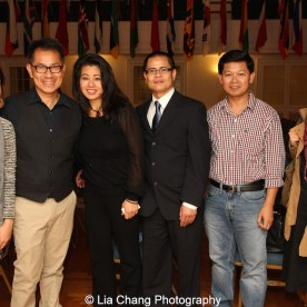 """Screening of """"The Killing Fields of Dr. Haing S. Ngor,"""" International House, October 22, 2015, New York. (L-R) director Arthur Dong, Sophia Ngor, Dr. Ngor's niece and film subject and Wayne Ngor, Dr. Ngor's nephew and narrator with guests. Photo by Lia Chang"""