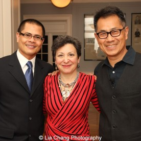 """Screening of """"The Killing Fields of Dr. Haing S. Ngor,"""" International House, October 22, 2015, New York. (L-R) Wayne Ngor, Dr. Ngor's nephew and narrator, Sam Katz and director Arthur Dong. Photo by Lia Chang"""