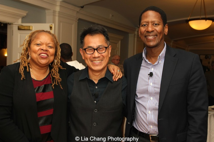 "Screening of ""The Killing Fields of Dr. Haing S. Ngor,"" International House, October 22, 2015, New York. (L-R) Sharon A. La Cruise, Director of Programs and Resident Life of International House, director Arthur Dong and Calvin Sims, President and CEO of International House. Photo by Lia Chang"