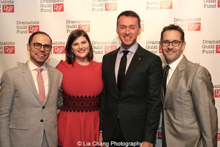 Andrew Lazarow, Rachel Routh, Andrew Lippa attend the Dramatists Guild Fund's Gala: 'Great Writers Thank Their Lucky Stars' at Gotham Hall on October 26, 2015 in New York City. Photo by Lia Chang