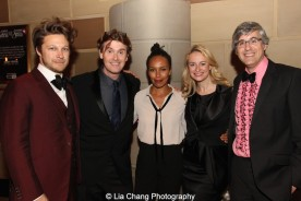 Benjamin Sheuer, Eisa Davis, Nell Benjamin and Mo Rocca attend the Dramatists Guild Fund's Gala: 'Great Writers Thank Their Lucky Stars' at Gotham Hall on October 26, 2015 in New York City. Photo by Lia Chang