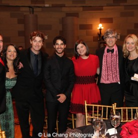 Dustin Sparks, Laurence O'Keefe, Darren Criss, Rachel Routh, Mo Rocco, Nell Benjamin and guest attend the Dramatists Guild Fund's Gala: 'Great Writers Thank Their Lucky Stars' at Gotham Hall on October 26, 2015 in New York City. Photo by Lia Chang