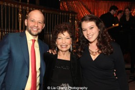 Gretchen Cryer is flanked by her son Jon Cryer and her granddaughter Hallie Steiner at the Dramatists Guild Fund's Gala: 'Great Writers Thank Their Lucky Stars' at Gotham Hall on October 26, 2015 in New York City. Photo by Lia Chang