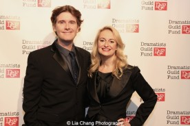 Laurence O'Keefe and his wife Nell Benjamin attend the Dramatists Guild Fund's Gala: 'Great Writers Thank Their Lucky Stars' at Gotham Hall on October 26, 2015 in New York City. Photo by Lia Chang