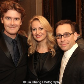 Laurence O'Keefe and his wife Nell Benjamin with Garth Kravits at the Dramatists Guild Fund's Gala: 'Great Writers Thank Their Lucky Stars' at Gotham Hall on October 26, 2015 in New York City. Photo by Lia Chang