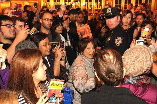 Fans waiting for autographs at the Longacre Theatre stage door in New York after the first preview of ALLEGIANCE on October 6, 2015. Photo by Lia Chang