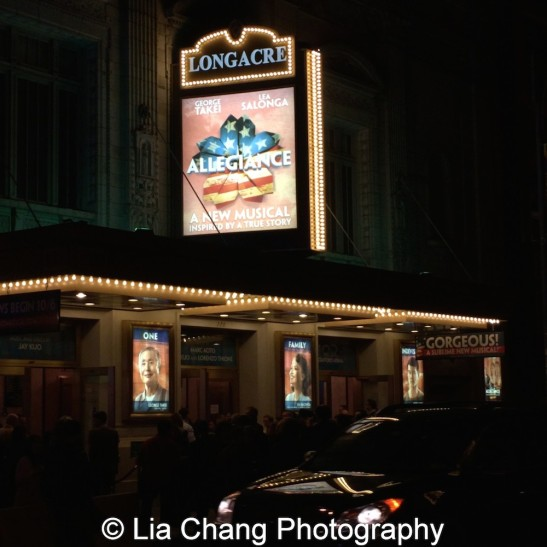 Broadway's Allegiance kicked off previews at the Longacre Theatre in New York on October 6, 2015. Photo by Lia Chang