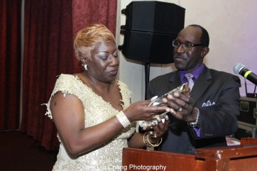 Elder Joan M. Williams, Executive Director of Beth-Hark Christian Counseling Center, Inc. was presented the 2015 Deborah Award for Leadership by Pastor Mimsie Robinson. Photo by Lia Chang