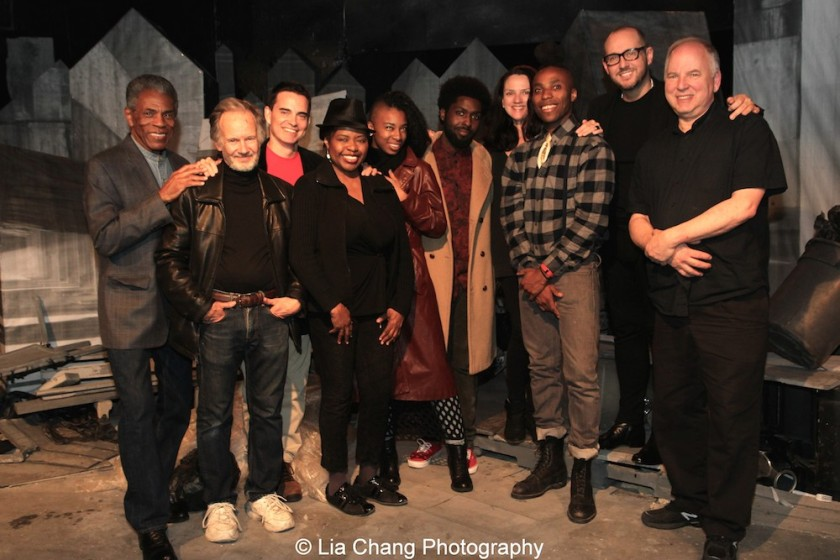 André De Shields, with the company of Homeless and We Got That Way, actor Bryan Hickey, playwright Dan McCormick, actress Richarda Abrams, assistant set builder Tochi Shilow, set designer Kevin Kedroe, Roust Theatre Company producing director Tracy Hostmyer, set builder Malcolm Andre Davis II, director/ Roust Theatre Company artistic director James Phillip Gates and stage manager Bill Gilinsky at Access Theater in New York on October 24, 2015. Photo by Lia Chang