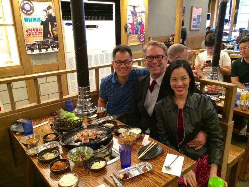 Arthur Dong, Greg Schanuel and Lia Chang at Jongro BBQ in New York on October 22, 2015. Photo by Lia Chang