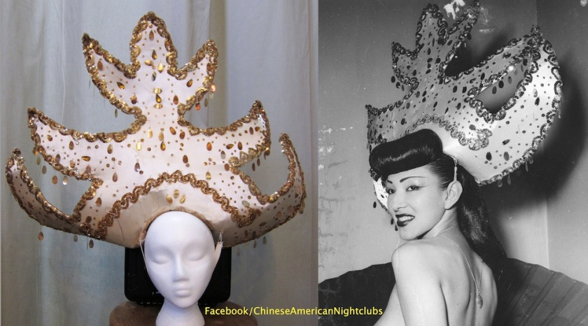 Caption: On the left is a headdress worn by dancer Barbara Yung during the 1940s at Andy Wong's Chinese Sky Room nightclub. Ms Yung is pictured on the right wearing the actual piece during the era. The costume is one of Arthur's recent acquisitions that will be on display in his 2018 exhibition at the Japanese American National Museum. Photo courtesy of DeepFocus Productions, Inc.