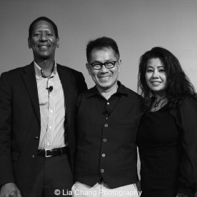 """Screening of """"The Killing Fields of Dr. Haing S. Ngor,"""" International House, October 22, 2015, New York. (L-R) Calvin Sims, President and CEO of International House, director Arthur Dong and Sophia Ngor, Dr. Ngor's niece and film subject."""