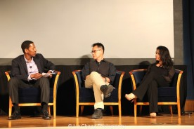 "Screening of ""The Killing Fields of Dr. Haing S. Ngor,"" International House, October 22, 2015, New York. (L-R) Calvin Sims, President and CEO of International House, director Arthur Dong and Sophia Ngor, Dr. Ngor's niece and film subject."