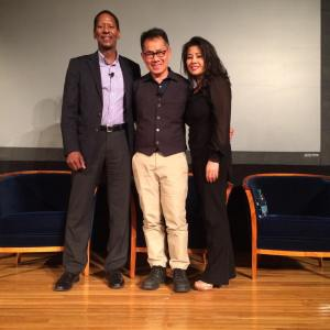 """Screening of """"The Killing Fields of Dr. Haing S. Ngor,"""" International House, October 22, 2015, New York. (L-R) Calvin Sims, President and CEO of International House, director Arthur Dong and Sophia Ngor, Dr. Ngor's niece and film subject. Photo by Lia Chang"""