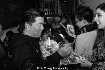 Christophen Nomura signs autographs backstage at the Longacre Theatre in New York after the first preview of ALLEGIANCE on October 6, 2015. Photo by Lia Chang