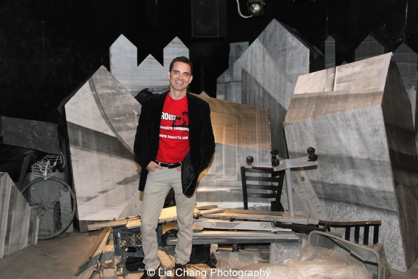 Playwright Dan McCormick on the set of his new play, HOMELESS AND HOW WE GOT THAT WAY at Access Theater in New York on October 24, 2015. Photo by Lia Chang